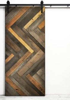 Dogberry Collections Herringbone Wood Lacquer Stained Interior Barn Door Size: H x W x D Into The Woods, Sliding Barn Door Hardware, Sliding Doors, Deco France, The Doors, Interior Barn Doors, Window Coverings, Barn Wood, Rustic Barn