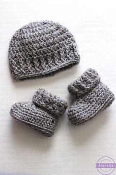The Parker Crochet Baby Booties – Crochet Pattern and ideas Crochet Baby Hats Free Pattern, Bonnet Crochet, Crochet Baby Blanket Beginner, Crochet Baby Shoes, Crochet Baby Clothes, Crochet For Boys, Crochet Beanie, Knit Crochet, Crocheted Baby Booties