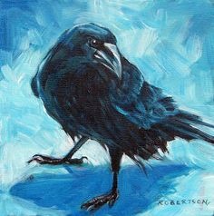 Janice Robertson's art  I love the raven in blue hues!