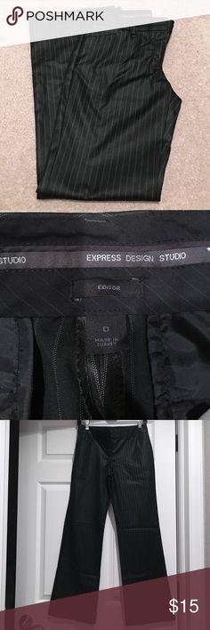 Express Editor Slacks EXPRESS DESIGN STUDIO EDITOR SLACKS❣️EXCELLENT CONDITION❣️SIZE 0 SHORT(30inch inseam)❣️10% OFF WHEN YOU BUNDLE❣️30inch Length Express Pants Trousers