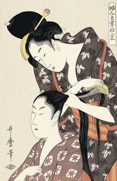 喜多川歌麿 婦人手業拾二工 髪梳き かみすき