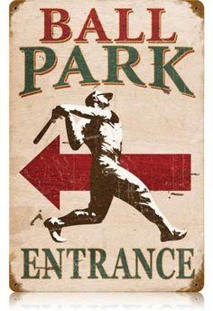 Vintage Ball Park Metal Sign