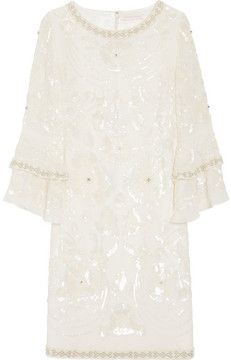 Matthew Williamson Poppy embellished silk-georgette shift dress on shopstyle.com