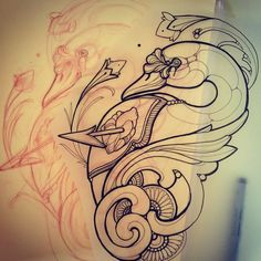 In prog for the (presso South Ink Tattoo) Tattoo Sketches, Drawing Sketches, Tattoo Drawings, Traditional Ink, Neo Traditional Tattoo, Feather Tattoos, Tribal Tattoos, Black Swan Tattoo, Tattoo Illustration