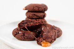 Chocolate Caramel Cookies with Sea Salt.... yummzies