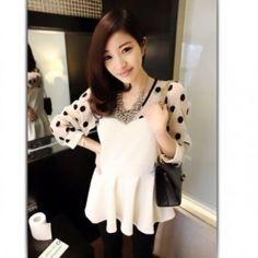 Chic Spots Round Collar Blouse Light Apricot Polka Dot Shirt, Collar Blouse, Indie Brands, Round Collar, Ruffle Blouse, Fancy, Silk, Chic, Stuff To Buy