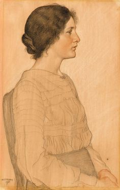 Portrait of a seated Young Woman, 1903 by William Strang (Scottish 1859-1921)