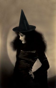 "A witch hat was added, but the rest is as vampy as it originally appeared. This is the fabulous Myrna Loy in a publicity still for ""Pretty Ladies"" which was filmed in 1925."