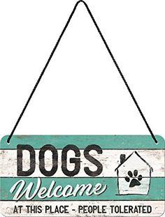 Nostalgic-Art 28015 PfotenSchild - Dogs Welcome | Blechschild | Hängeschild | Türschild | inkl. Kordel, 10x20 cm - 1