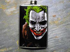 Joker Decorated Stainless Steel Flask 8oz - FN159. $18.00, via Etsy. Groomsmen gifts?!