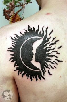 Heavy blackwork sun and moon