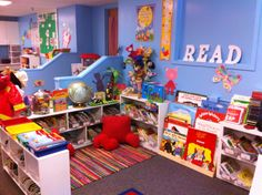 Dreamy Kindergarten classroom library! I LOVE the blue wall color.....hmm, very possible.