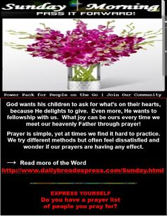 Happy Sunday! | Share the Word with Family & Friends!  <>  (click on picture or link to read the word) - http://www.dailybreadexpress.com/Sunday.html