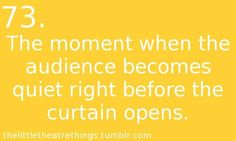 the little theatre kid things: the quiet that happens before the curtain opens Act Theatre, Theatre Jokes, Little Theatre, Theatre Problems, Theatre Nerds, Broadway Theatre, Music Theater, Broadway Shows, Musicals Broadway