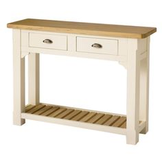 Country Painted 2 Drawer Hall Table, solid oak tops carefully finished with a soft satin lacquer, complimented with a neutral cream painted finish on hardwood frames. This item comes fully assembled Oak, Table, Solid Oak, Furniture Sale, Furniture, Hall Table, Hallway Furniture, Home Decor, Hardwood Frame