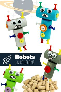 websitepetits bouchons primaire manuelle activite robots petits liège noël find more noel can and our Petits robots en bouchons de liège Activite Manuelle Noel Primaire You can find Robots and moreYou can find Robots and more on our website Craft Activities For Kids, Preschool Crafts, Toddler Activities, Planets Activities, Kids Crafts, Toilet Paper Roll Crafts, Cardboard Crafts, Robot Crafts, Alien Crafts