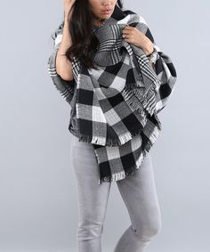 Look at this Coco and Main Black Buffalo Check Game Day Wrap - Women & Plus on today! Cold Weather Fashion, Casual Fall Outfits, Plaid Scarf, Plus Size Outfits, Buffalo Check, Autumn Fashion, Dress Up, Shawl, How To Wear