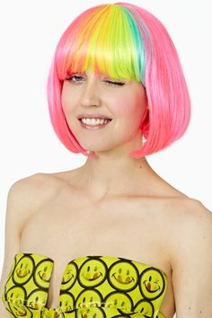 Pop Rainbow Wig I want this wig!!