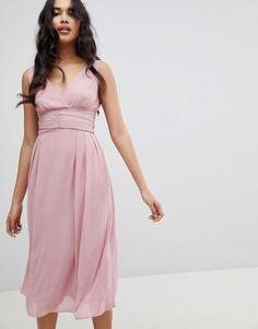 TFNC | TFNC Wrap Front Midi Bridesmaid Dress With Tie Back