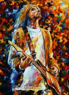 Some artists were so inspired by the music of Nirvana that they have even created some Kurt Cobain paintings. Leonid Afremov also has a painting of this musician in his art gallery. If you are a true Nirvana lover and an appreciator of art, do not hesitat Kurt Cobain Painting, Kurt Cobain Art, Tableau Pop Art, Frida Art, Psy Art, Marc Chagall, Arte Pop, Palette Knife, Kandinsky
