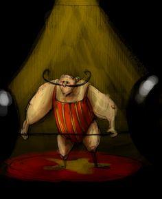 Circo - Il Sollevatore di pesi by Madeleine Frochaux #illustration #art