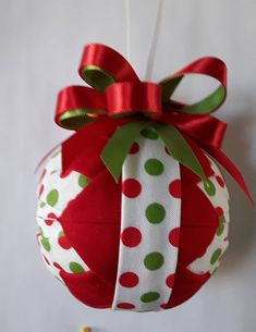 Red and Green Polka Dots Christmas Quilted Ornament Quilted Christmas Ornaments, Christmas Quilt Patterns, Christmas Sewing, Handmade Christmas, Beaded Ornaments, Ball Ornaments, Christmas Baubles, Quilted Fabric Ornaments, Grinch