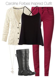 """The Vampire Diaries - Caroline Forbes Inspired Outfit"" by staystronng ❤ liked on Polyvore featuring Kaporal, Fat Face, River Island, Lipsy, Boots, jeans, cardigan, tvd and carolineforbes"