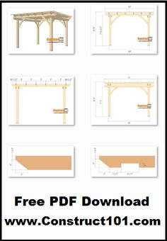 10×10 pergola plans, free PDF download, material list, drawings and measurements.