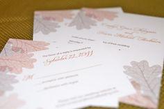 Graceful Autumn Leaves Wedding Invitation