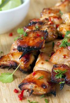 Grilled Chicken Skewers:   soy sauce  * 2 Tbs. honey  * 1 tablespoon vegetable oil  * Juice of 1 Lime  * 1 teaspoon minced garlic  * 4 skinless, boneless chicken breast halves