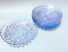 From the early Fifties, set of 9 saucer size plates, depression glass Anchor Hocking, Blue Sapphire, Depression, Bubbles, Plates, Dishes, Etsy, Vintage, Color