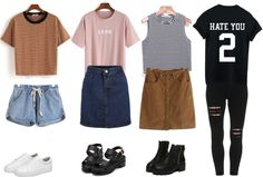 "whatever reblogged for thrvsting I just found where you can buy all these cute tumblrish clothes! Just check out the following links:  Brown striped t-shirt  ""Hate you 2″ t-shirt Black & white striped top Denim shorts Brown skirt Ripped skinny black jeans Denim skirt 1996 t-shirt Black sandals White snickers Black boots All the items above are from Romwe. They have many cute items and AWESOME DISCOUNTS (up to 60% off your purchase)!  > Check out more outfit posts here! <  You don't have to…"