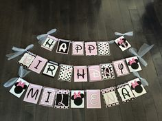 Light pink and black Minnie Mouse banner dimadesignz
