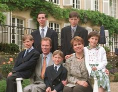 Standing Prince Guillaume and Prince Felix. Seated Prince Louis, Hereditary Grand Duke Henri, Prince Sebastien, Hereditary Grand Duchess Maria Teresa and Princess Alexandra of Luxembourg