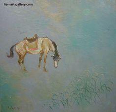 OOP Horse Orig oil 70x70cm Đức Đỗ b1948 VUFA1980 Mongolia1981 Cuba1985 USSR1986  #ArtNouveau