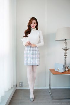 Korean Women`s Fashion Shopping Mall, Styleonme. Fashion Tights, Cozy Fashion, Tights Outfit, Feminine Office, Wool Tights, Pantyhose Outfits, White Tights, Sexy Socks, Plain Dress
