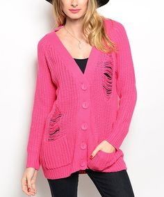 This Pink Distressed Cardigan by Shop the Trends is perfect! #zulilyfinds