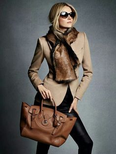 Leather and faux fur.