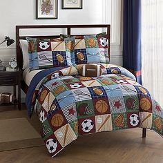 Team Sport 4Piece Full Comforter Set in BlueTan *** Want to know more, click on the image.