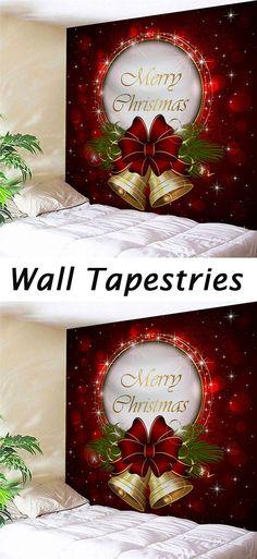Christmas decor ideas:Christmas Bells Print Tapestry Wall Hanging Art