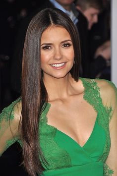 Green dress on Vampire Diaries' Nina Dobrev. #emerald #celebstylewed #bridal