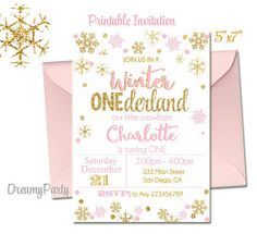 Winter Onederland Invitation Pink and Silver first birthday