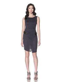 Sleeveless Knit Buckle Dress. Medium-weight stretch knit with seaming details on bodice, wrapped skirt with leatherlike buckles, round neck, invisible back zipper