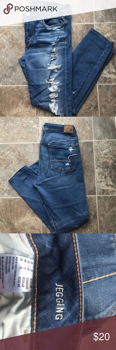 American Eagle light wash jegging jeans size 12 American Eagle destroyed light wash jegging jeans super super stretch size 12 regular; like new American Eagle Outfitters Jeans Skinny