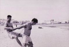 Peter Orlovsky with Jack Kerouac on the beach in Tangiers, 1957. Originally posted bytheonlyhankinla