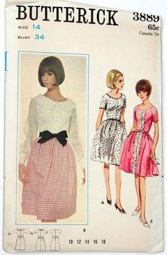 Vintage sewing pattern mod cocktail dress 1960s Butterick 3889 - 34 bust