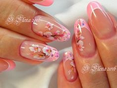 Ideas For Fails Art French Cherry Blossoms Fancy Nails, Cute Nails, Pretty Nails, Diagonal Nails, Hair And Nails, My Nails, Gold Manicure, Flower Nail Art, Art Flowers