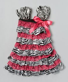 This Hot Pink Zebra Ruffle Dress - Infant, Toddler & Girls by Wenchoice is perfect! #zulilyfinds