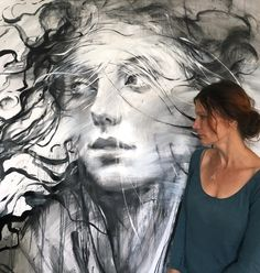 Ewa Hauton #artist #painting #blackandwhite #face #wind #hair #portrait #art #modernpainting