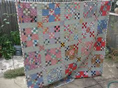 Nice scrappy quilt, double 9-patch.